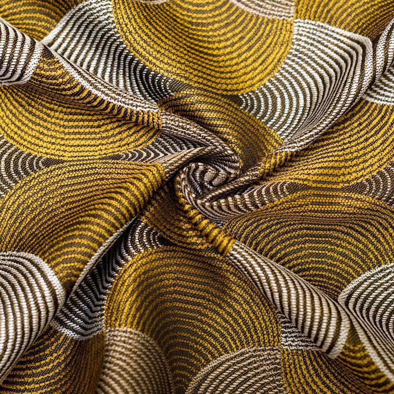 Jacquard noir motif rosace jaune et blanche