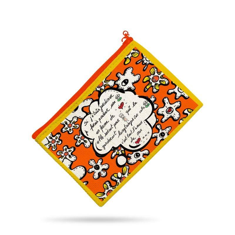 Kit pochette canvas motif fleur poème orange - Création Anne-Sophie Dozoul