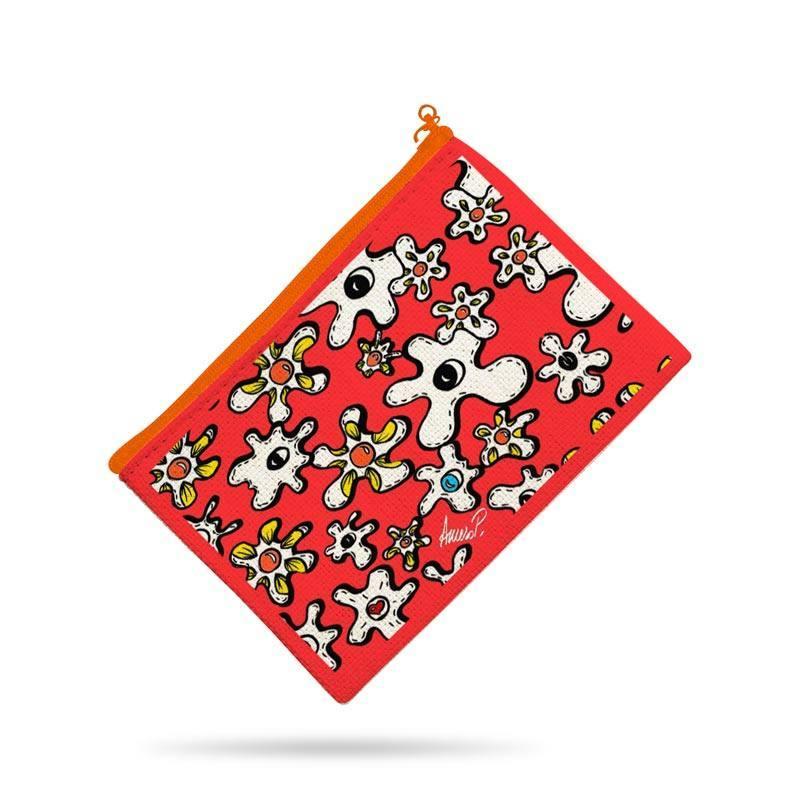 Kit pochette canvas motif fleur poème rouge - Création Anne-Sophie Dozoul