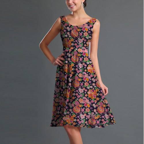 Popeline de coton bleu nuit motif rosace fleurie orange et rose