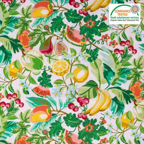 Coton écru motif pastèque et citron