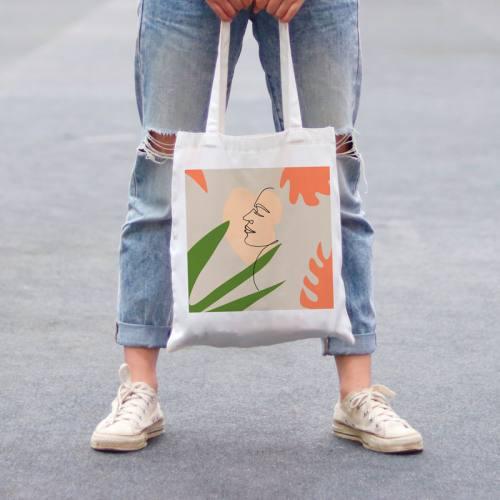Coupon 45x45 cm toile canvas dessin visage trait continu