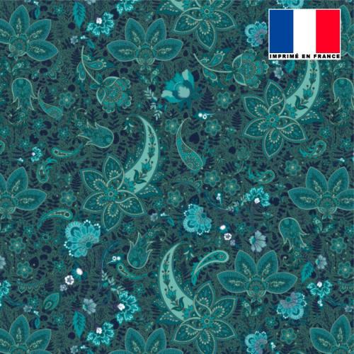 Tissu microfibre bleu paon motif rosace cachemire bleu