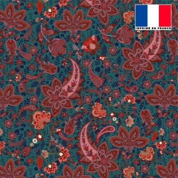 Tissu microfibre bleu paon motif rosace cachemire bordeaux