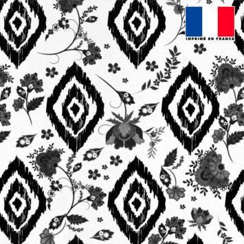 Tissu microfibre écru imprimé ethnique à petites fleurs noires