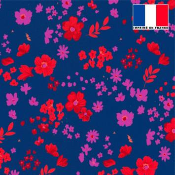 Tissu microfibre bleu roi motif fleurs des champs rouges violettes
