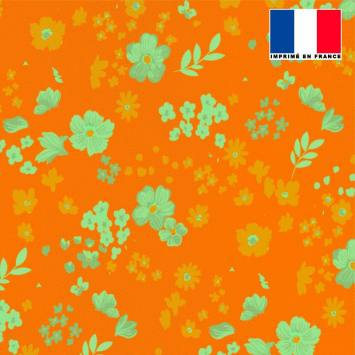 Tissu microfibre orange motif fleurs des champs ocre vert d'eau