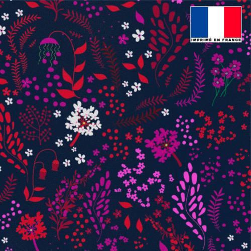 Tissu microfibre bleu motif fleurs champêtres prunes rouges blanches