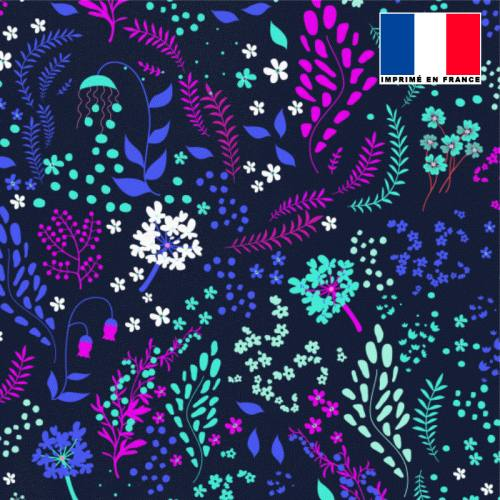 Tissu microfibre bleu motif fleurs champêtres violettes bleues vertes