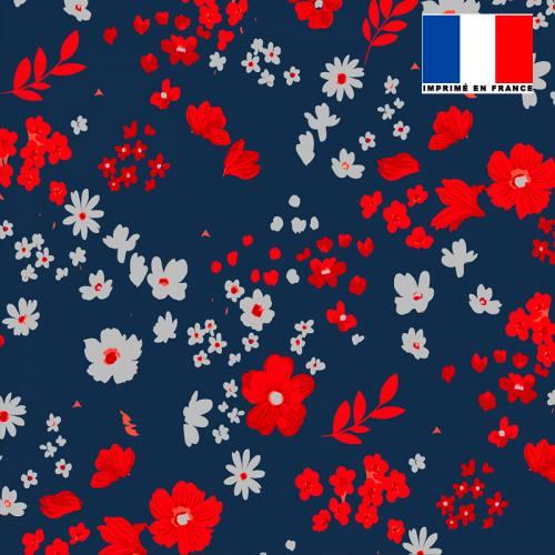 Tissu microfibre bleu nuit motif fleurs des champs rouges grises