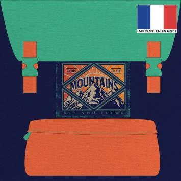 Coupon 45x45 cm toile canvas motif sac à dos violet orange et vert