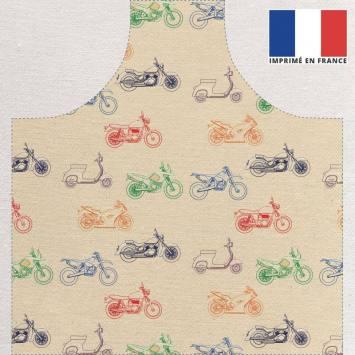 Kit canvas pour tablier motif motos multicolores