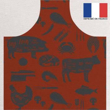 Kit canvas pour tablier motif barbecue rouge