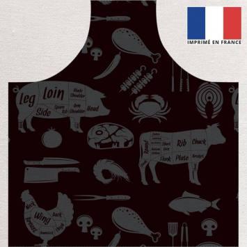 Kit canvas pour tablier motif barbecue noir