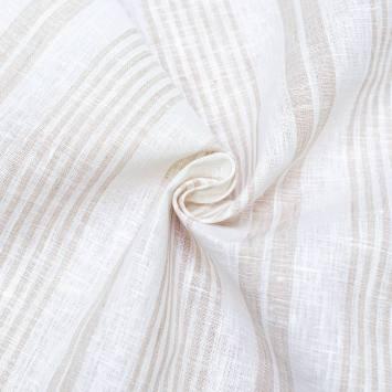Tissu lin naturel tissage rayures beiges