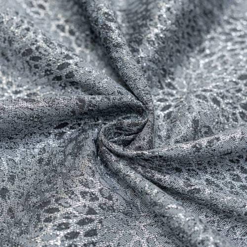 Coupon 50x68cm - Tissu jacquard gris avec fil argenté