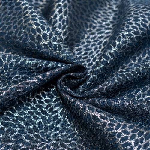 Coupon 50x68cm - Tissu jacquard bleu avec fil argenté