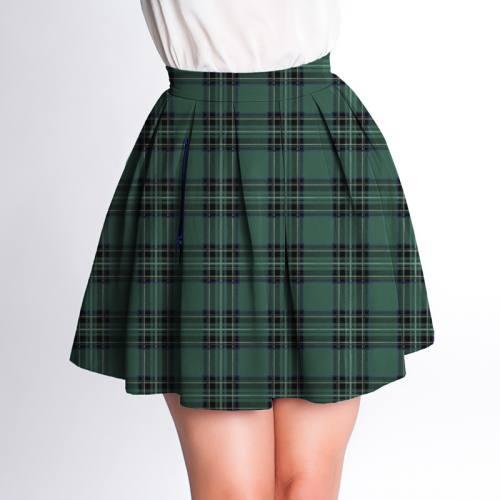 Velours d'habillement motif tartan vert et noir