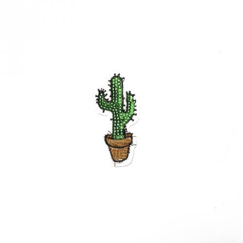 Écusson brodé cactus à sequins vert