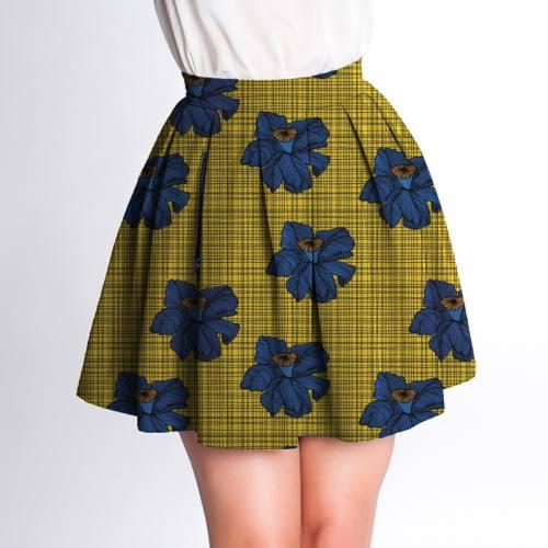 Velours d'habillement motif wax jaune et bleu