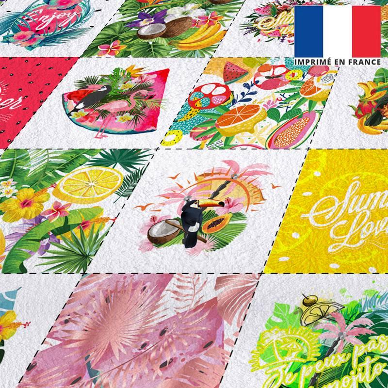 Coupon éponge pour lingettes démaquillantes motif tropical paradise