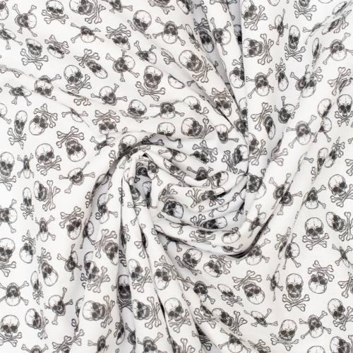 Coton blanc imprimé tête de mort noire