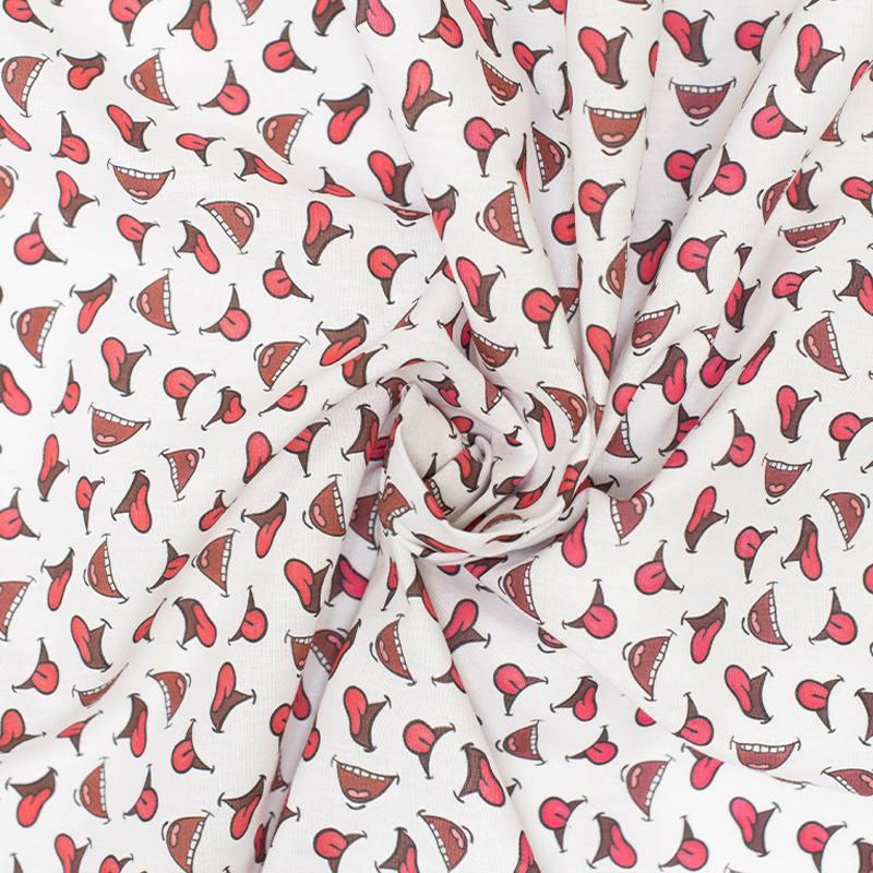 Coton blanc imprimé smile rouge