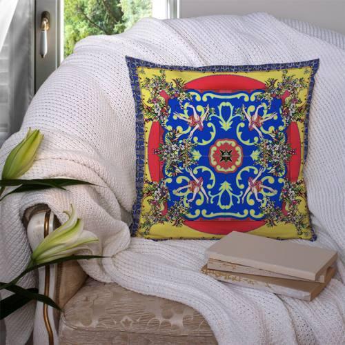 Coupon velours ras jaune imprimé bouquet bleu roi - Création Mathilde Lordet