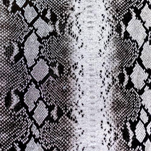 Coupon 50x68 cm - Simili cuir argent à paillettes motif peau de serpent noire