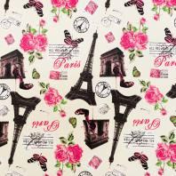 Simili cuir blanc cassé imprimé Paris rose et noir