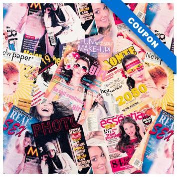 Coupon 50x68 cm - Simili cuir jaune imprimé magazine 2080 rose