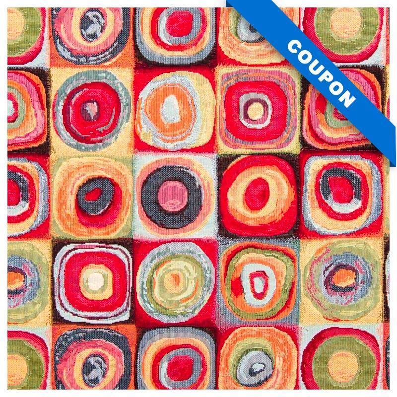 Coupon 50x68 cm - Jacquard multicolore motif Kandy