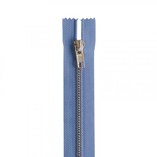 Fermeture bleu jean en métal argent 18 cm col 145