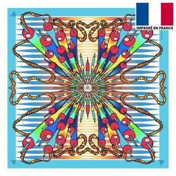 Coupon velours ras bleu imprimé bombe - Création Mathilde Lordet