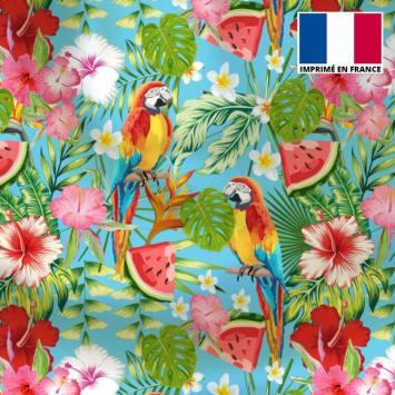 Tissu microfibre bleu motif perroquet exotique rouge