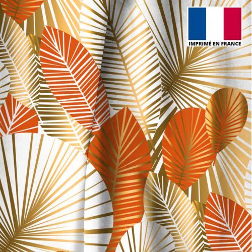 Velours ras écru motif feuilles art déco orange et or