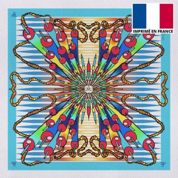 Coupon 45x45 cm toile canvas bleu imprimé bombe - Création Mathilde Lordet