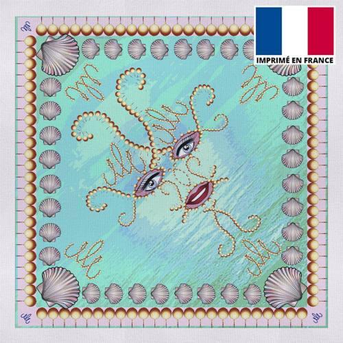 Coupon 45x45 cm motif bleu imprimé shéhérazade - Création Mathilde Lordet