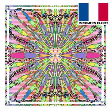 Coupon velours ras rose imprimé planche de surf - Création Mathilde Lordet