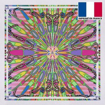 Coupon 45x45 cm toile canvas rose imprimé planche de surf - Création Mathilde Lordet