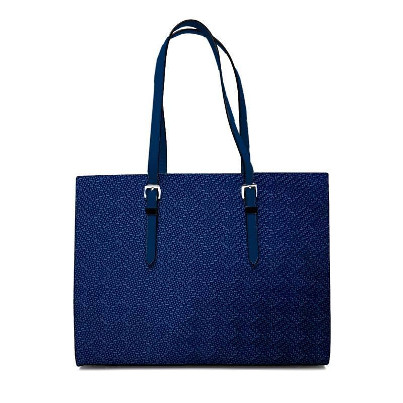 Coupon 50x68 cm - Simili cuir imitation tressage bleu électrique