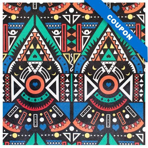 Coupon 50x68cm - Simili cuir noir imprimé ethnique multicolore