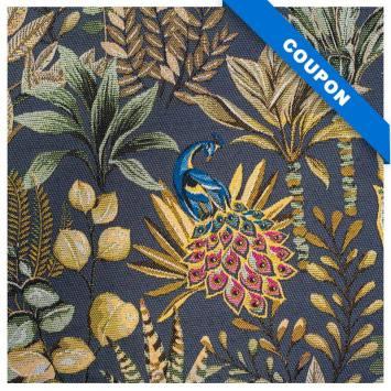 Coupon 50x68 - Jacquard bleu argenté motif feuilles beiges et vertes