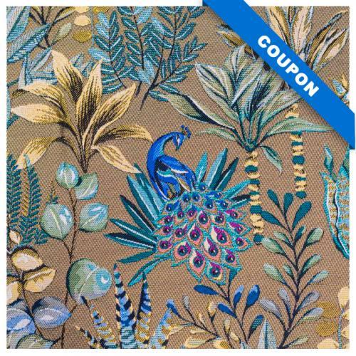 Coupon 50x68 cm - Jacquard mordoré motif feuilles jaunes et bleues