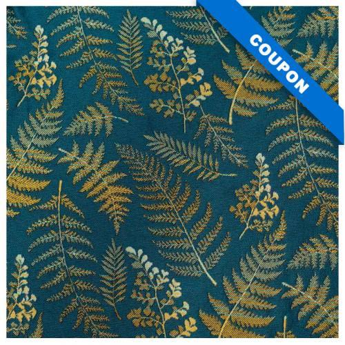 Coupon 50x68 cm - Jacquard bleu canard feuilles et fougères