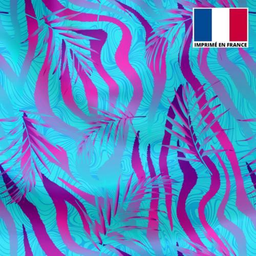 Lycra bleu motif zébrure et feuille bleue et violette