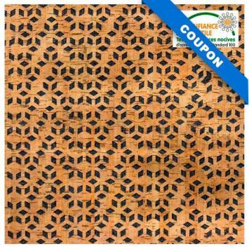 Coupon 50x67cm - Tissu noir et liège motif losange
