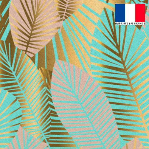 Velours bleu turquoise motif feuilles art déco roses et or