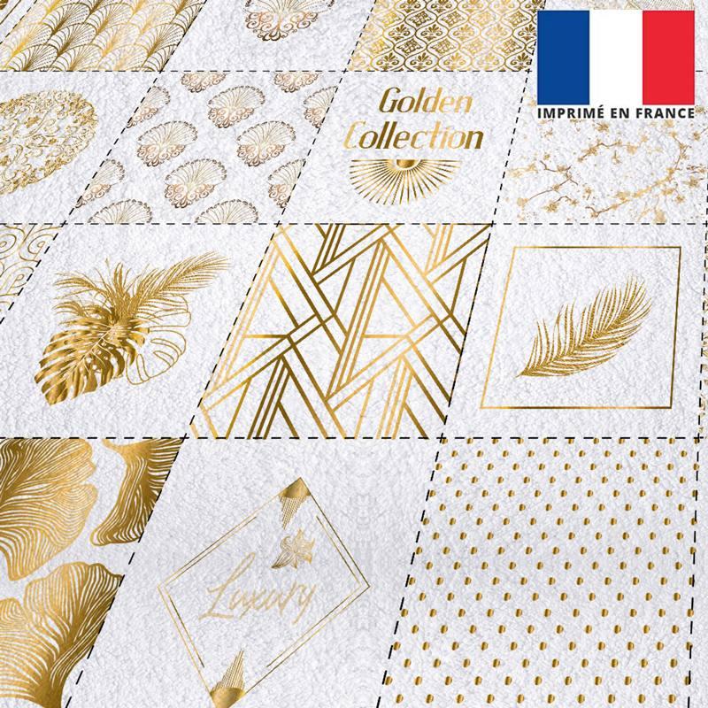 Coupon éponge pour lingettes démaquillantes motif art déco gold