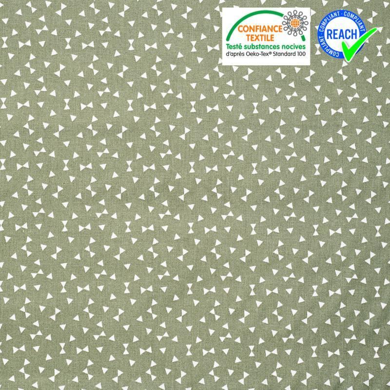 Coton vert kaki motif triangle blanc yozik